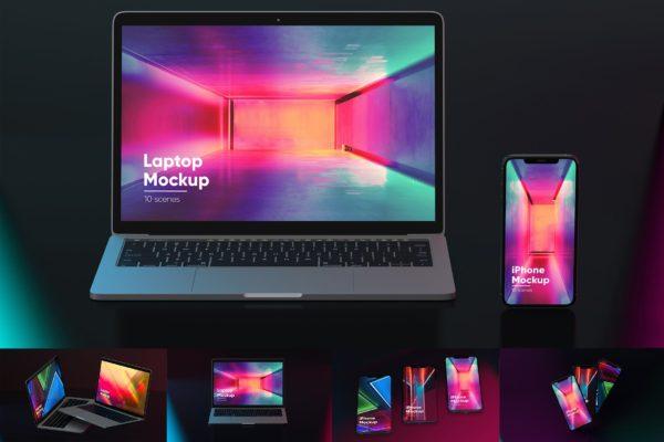黑色霓虹灯背景iPhone 11&MacBook屏幕预览样机模板 Black Neon Iphone and MacBook Mockups