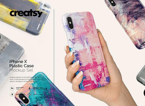 逼真的iPhone X塑料材质手机壳样机展示模型mockups
