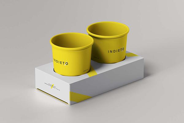 高级外卖纸杯咖啡杯包装设计VI设计样机贴图展示模型mockups