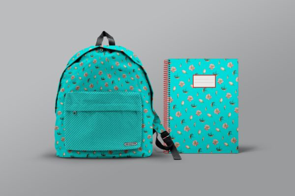 学生背包书包和学校笔记本模型样机PSD