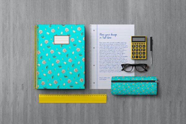 学生返校笔记本文具贴图元素样机提案psd