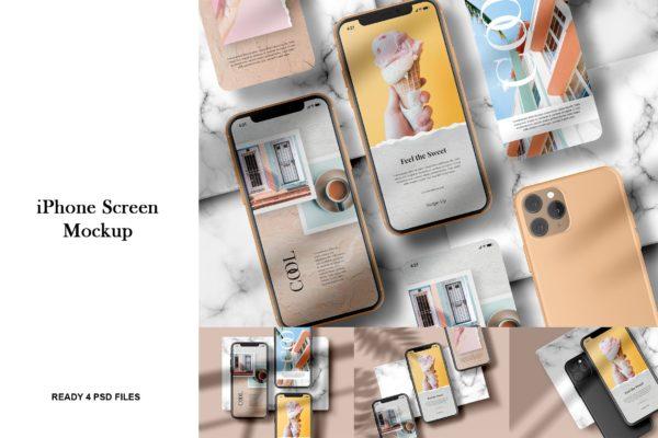 iPhone实体样机屏幕效果预览模板 iPhone Screen – Mockup