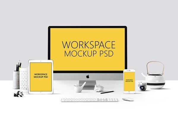 工作场景的响应式网站展示模型(Mockup)