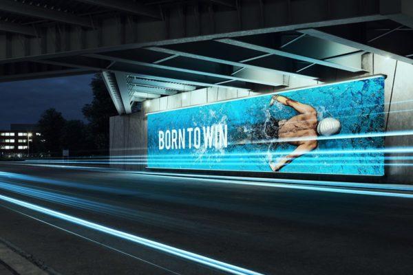城市桥底灯光广告牌灯箱海报样机素材智能贴图Mockup