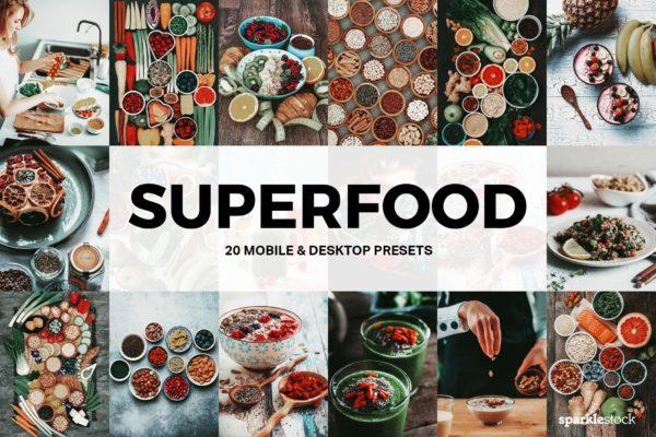 20款美食摄影照片后期调色LR预设 20 Superfood Lightroom Presets and LUTs