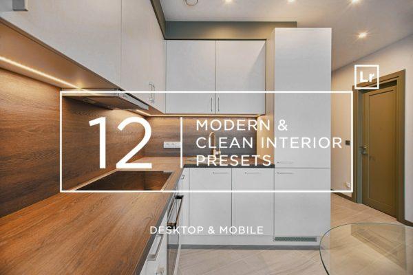 12款现代建筑&室内摄影后期LR调色预设 12 Modern & Clean Interior Presets + Mobile