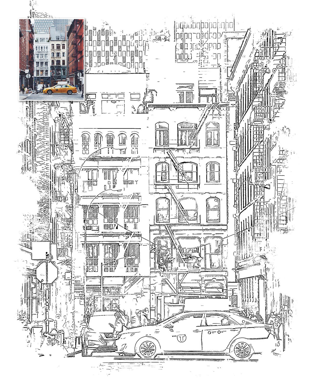 城市素描艺术效果PS动作 Urban Sketch Photoshop Action设计素材模板