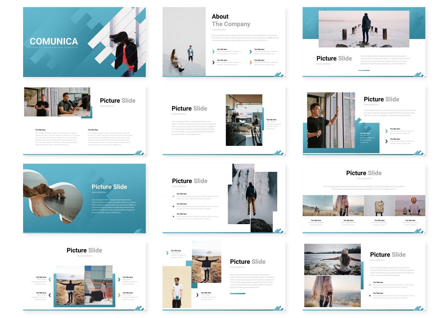 摄影/时尚/服装企业PPT幻灯片模板素材 Comunica – Powerpoint Template设计素材模板