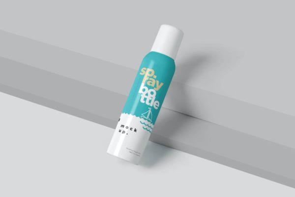 金属材质除臭喷雾瓶包装设计样机 Metal Deodorant Spray Bottle Mockups