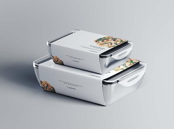 带标签快餐包装盒设计效果图样机模板 Food Container Mockup with Label