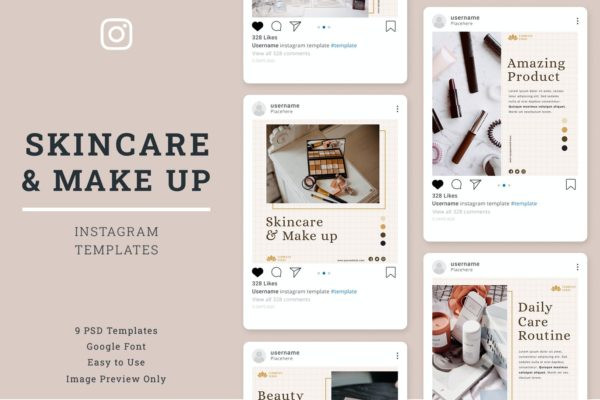 护肤化妆品社交推广Instagram设计模板 Skin Care Instagram Post Template