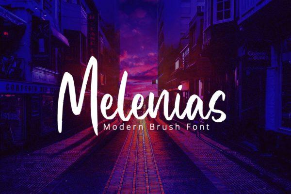 手写英文字母字体合集 Melenias – Casual Brush Font