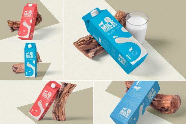 纸盒包装外观设计效果图样机 Juice Carton Box Packaging Mockups