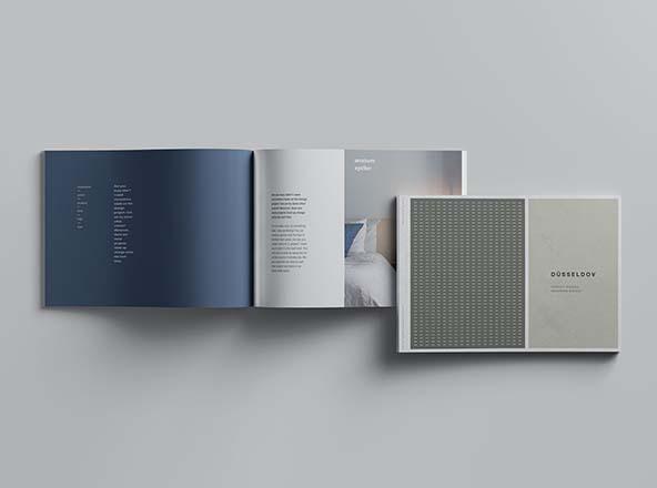 企业画册/产品手册封面&内页排版设计展示样机 A4 Landscape Perfect Binding Brochure Mockup