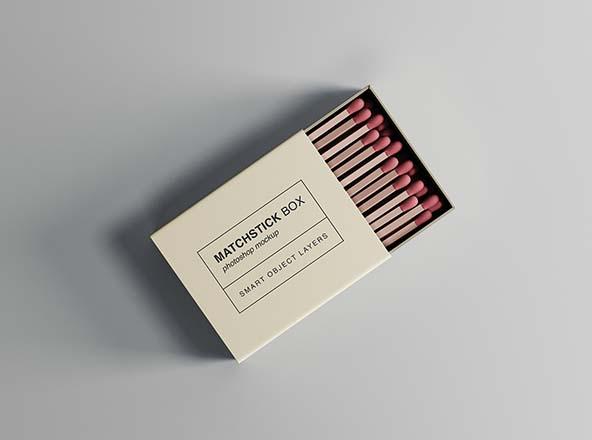 火柴盒设计俯视图样机模板 Matchstick Box Mockup