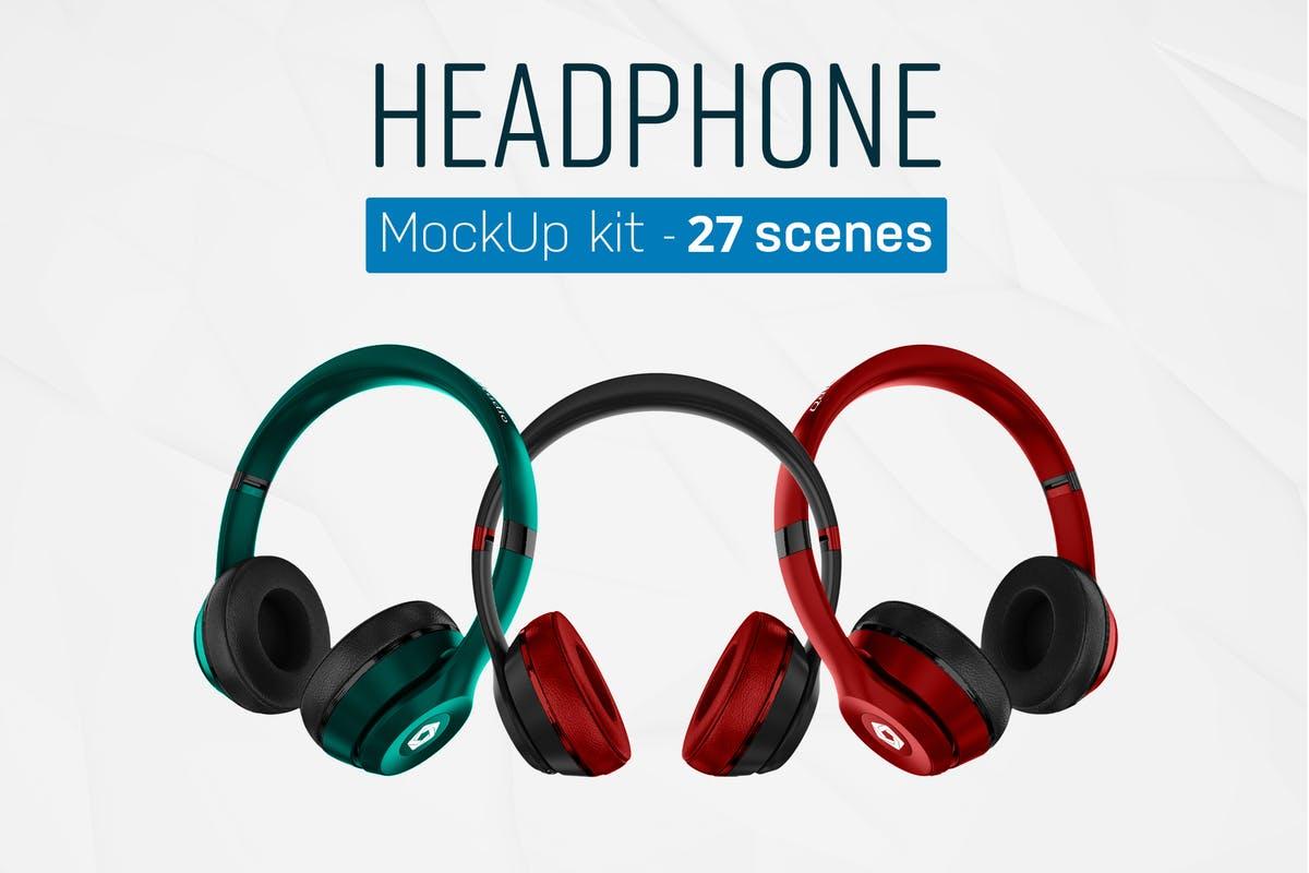 音乐头戴耳机样机套装 Headphones Mockup Kit设计素材模板