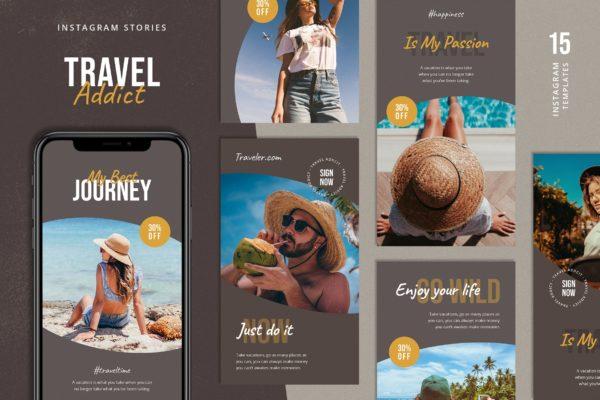 夏日 旅行 主题 社交媒体Instagram故事模板 Travel Instagram Stories Template