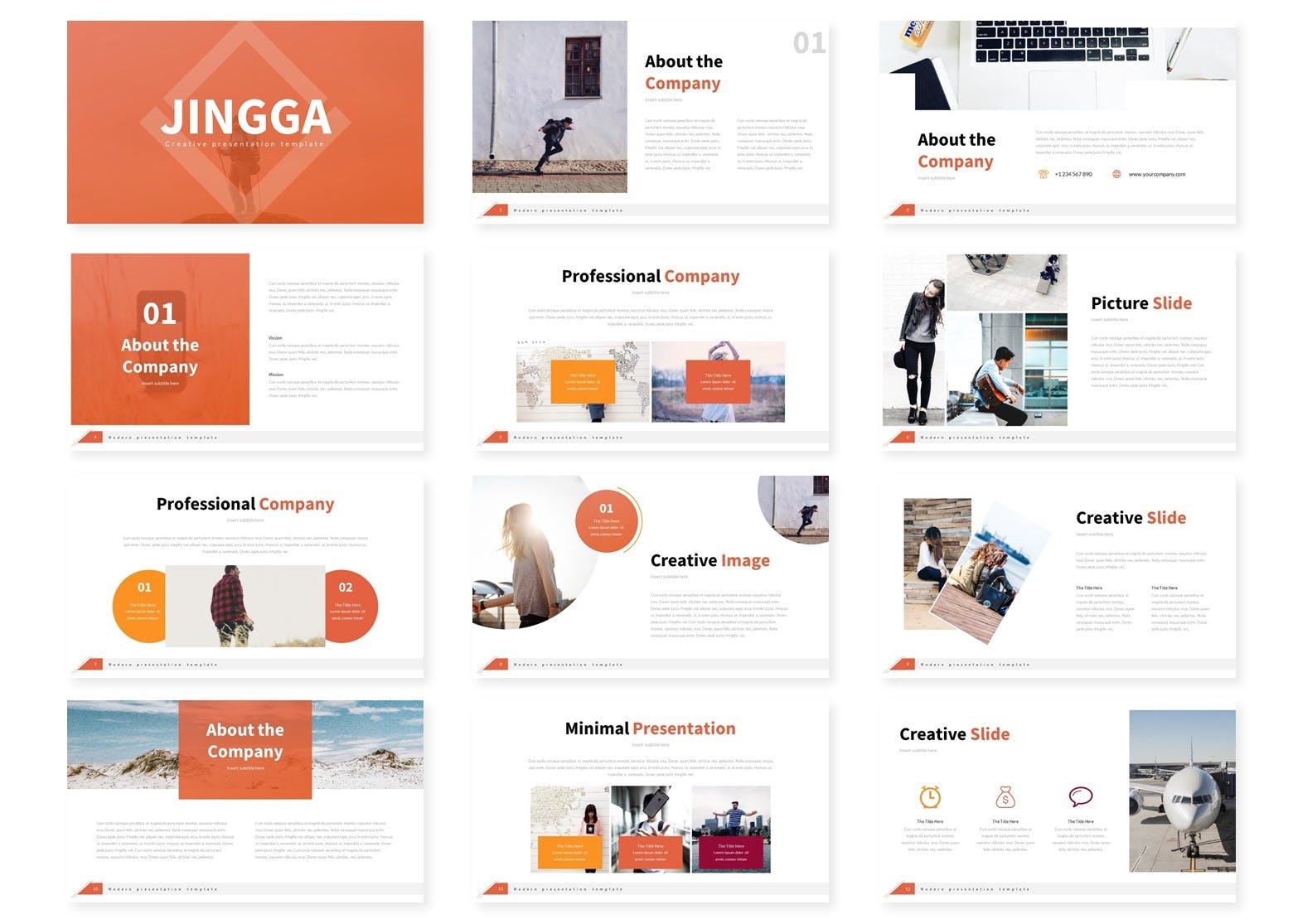 简约布局设计Powerpoint幻灯片模板 Jingga – Powerpoint Template设计素材模板