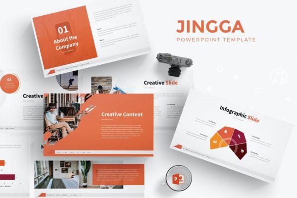 简约布局设计Powerpoint幻灯片模板 Jingga – Powerpoint Template