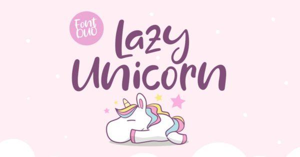 曲线状独角兽字型英文字体组合 Duo Lazy Unicorn Font Duo