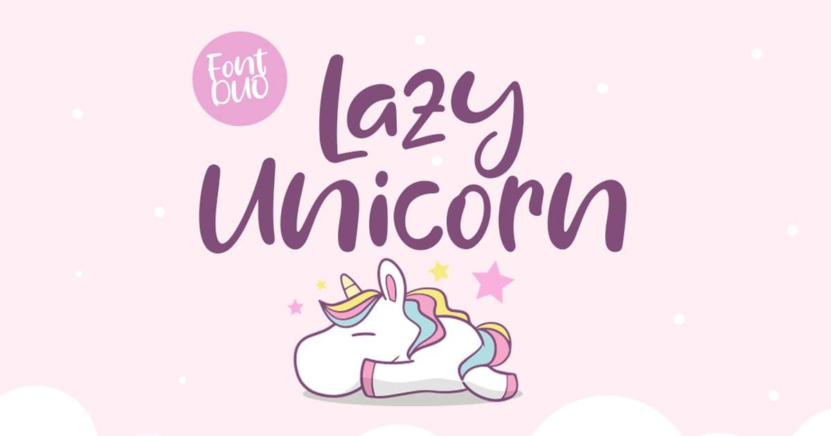 曲线状独角兽字型英文字体组合 Duo Lazy Unicorn Font Duo设计素材模板