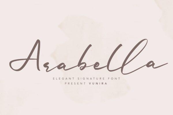 手写书法风格英文签名字体 Arabella | Elegant Signature Font