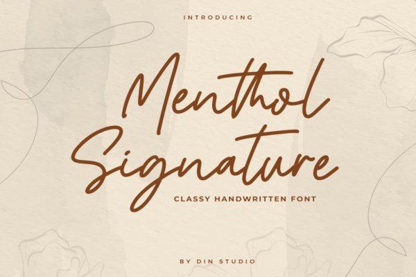 知性风英文单线签名字体 Mentol Signature – Monoline Font