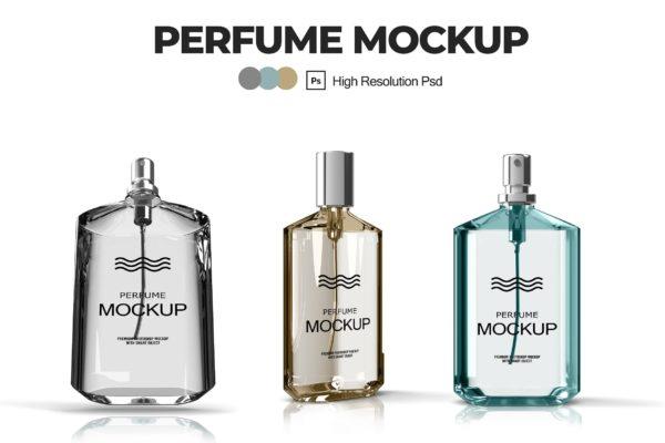 透明玻璃款香水瓶外观设计预览V.1 Perfume Mockups V.1