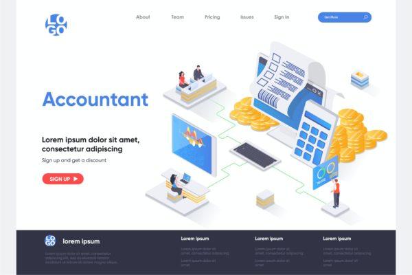 财务管理主题等距概念插画网站着陆页模板 Accountant Isometric Landing Page Template
