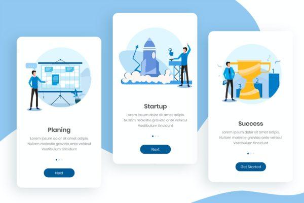 项目管理主题APP应用设计模板 Start Up Business Onboarding App Screens