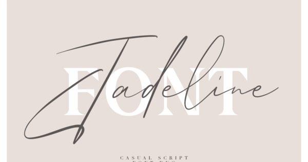 手写英文签名无衬线字体素材 Jadeline Script – Free Serif Font