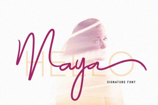 奢华签名字体 Maya – Luxury Signature Font