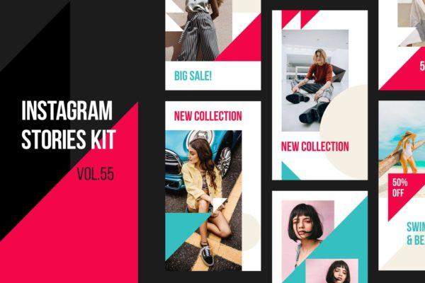 夏季新品服装服饰促销推广Instagram社交素材包 Instagram Stories Kit (Vol.55)
