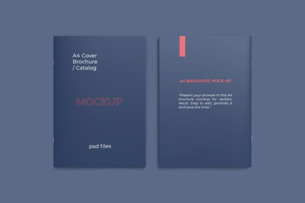 画册封面&封底设计样机 Front and back covers A4 catalog mockup