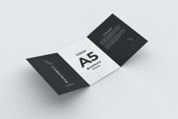 三折页广告宣传册设计样机模板v1 A5 Trifold Mockup V1