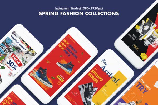 春季系列撞色背景Instagram故事贴图社交媒体模板 Spring Collections Instagram Stories