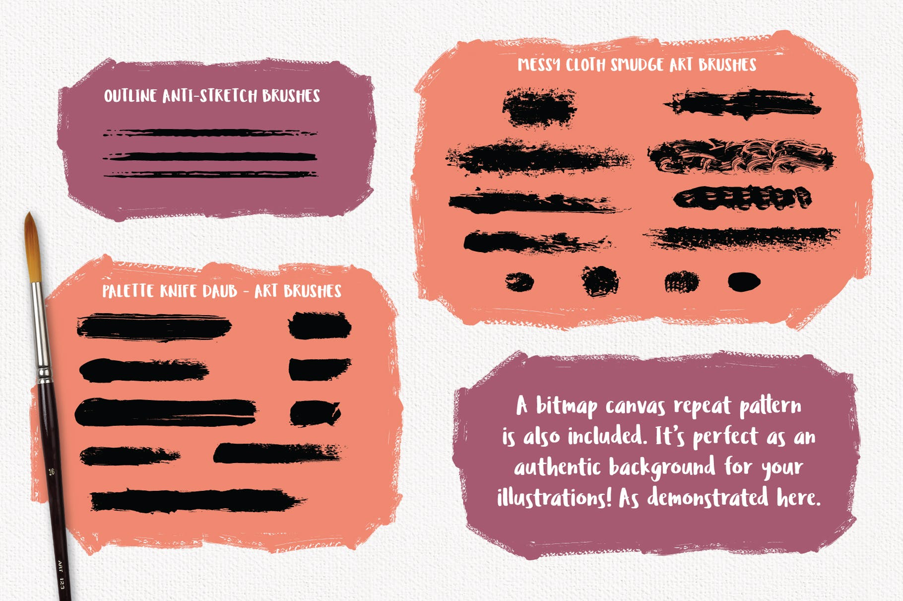 AI油画创作笔刷 Outstanding Oil Paint Brushes设计素材模板