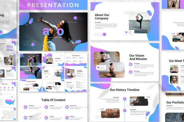 瑜伽课程推广PPT课件模板 Amo – Yoga Presentation Template