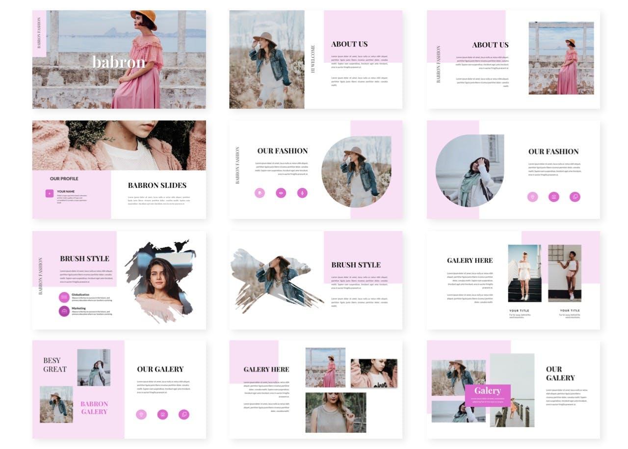 女性服饰品牌推广PPT模板 Babron – Powerpoint Template设计素材模板