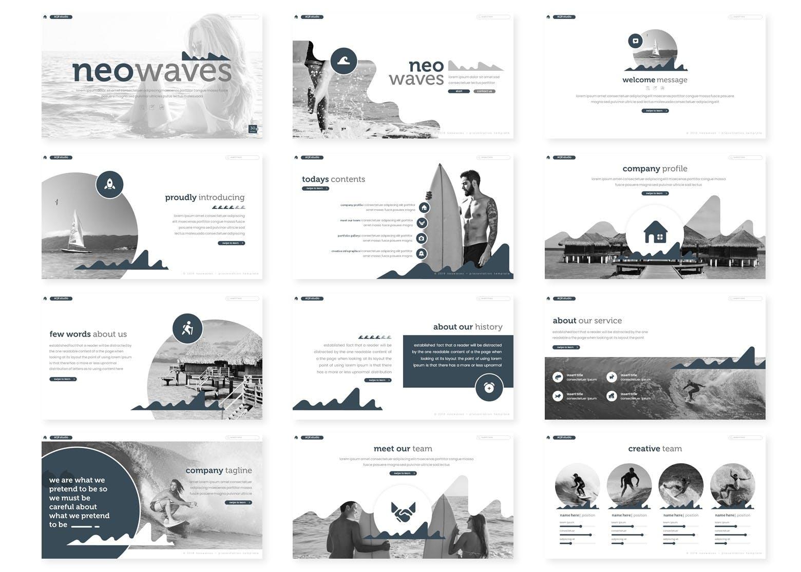 双色调商务演示PowerPoint模板 Neowaves – Powerpoint Template设计素材模板