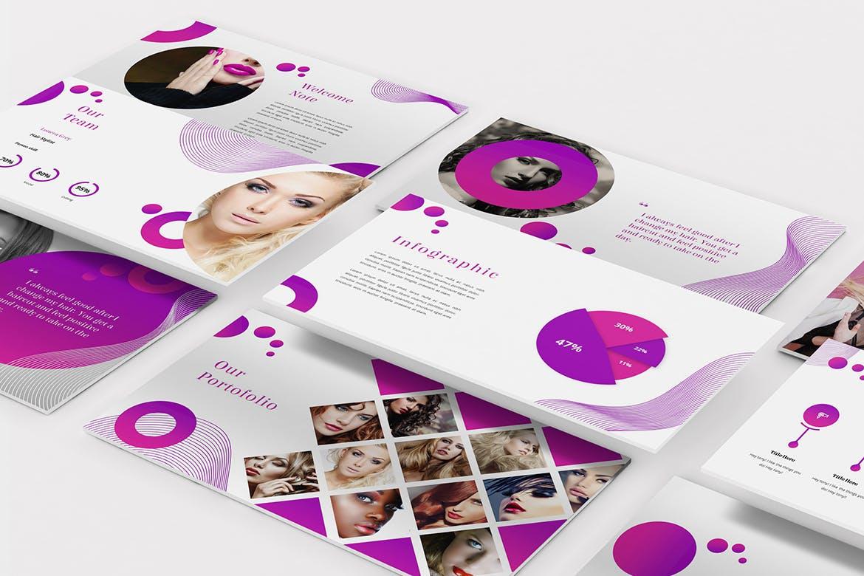 沙龙服务推广Powerpoint幻灯片模板 Salon – Hair & Beauty Powerpoint Template设计素材模板