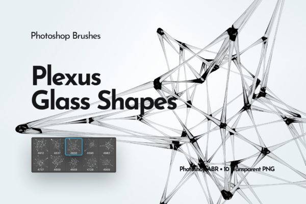 多边形玻璃形状PS画笔 Plexus Glass Shapes Photoshop Brushes