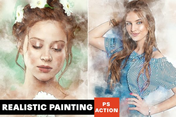 绘画艺术创作Photoshop动作 Realistic Painting Photoshop Action