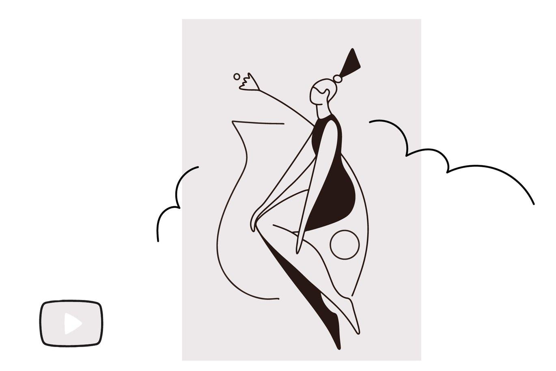 """线条样式简笔画绘画Procreate笔刷 Procreate brush """"Female dummy""""设计素材模板"""