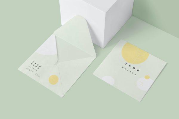 邀请卡设计效果图样机模板 Envelope & Card Mockups