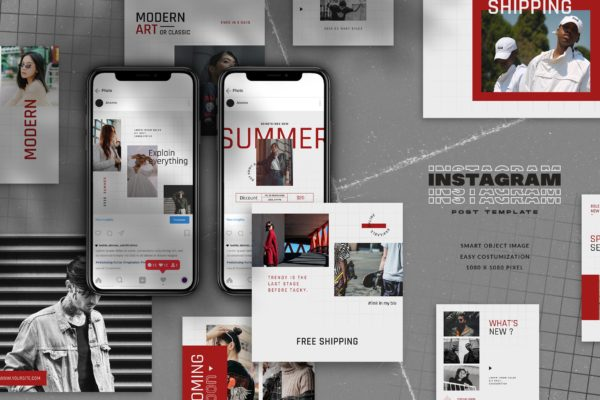 极简主义风时尚品牌故事Instagram帖子社交媒体设计模板 Minimal Instagram Post Templ