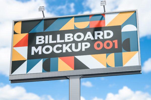 公路巨型广告牌设计样机模板v1 Billboard Mockup 001