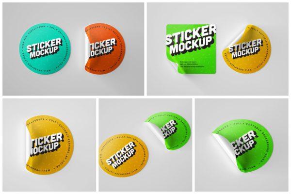 品牌标签设计贴纸样机模板合集 Circle Sticker Mockup Set