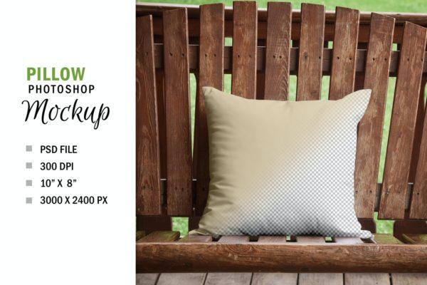 枕头印花图案预览样机模板 Rustic Country Square Mockup Pillow