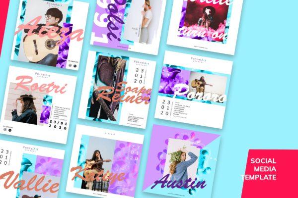 九款音乐主题广告贴图设计社交媒体素材包 Social Media Kit Music